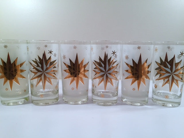 Atomic 22-Karat Gold North Star Mid-Century Highball Glasses (Set of 6)