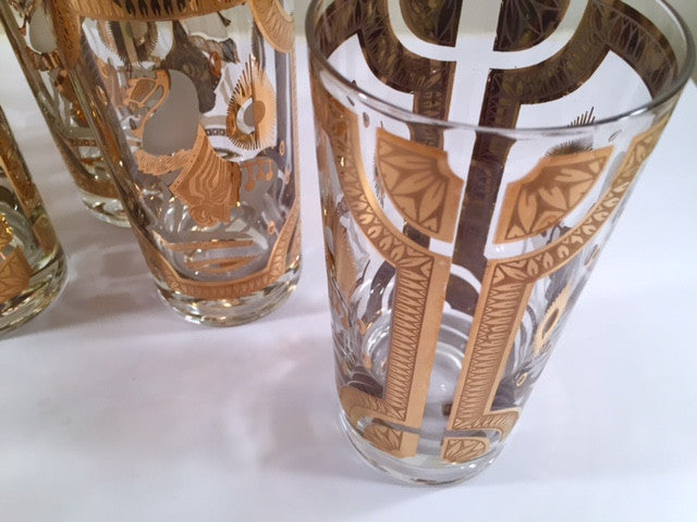 Fred Press -Signed Mid-Century Gray and 22-Karat Gold Trojan Horse Glasses (Set of 7)
