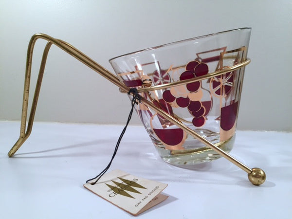 Gay Fad Signed Mid-Century Grape and 22-Karat Gold Ice Container With Carrier & Original Tag