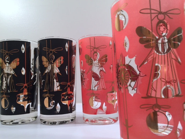 Fred Press - Signed Mid-Century 22-Karat Gold Christmas Angel Glasses (Set of 4) - Rare Colors