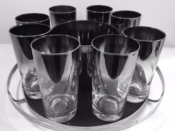 Vitreon Queens Luster - Mid-Century Bar Set with Carrier (8 Glasses, Ice Container and Carrier)