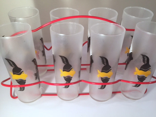 Federal Glass Mid-Century Under the Sea Fish Collins Glasses with Red Carrier (Set of 8 Glasses and Carrier)