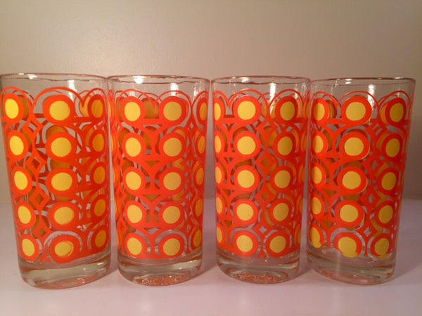 Colony Frolic Groovy Retro Orange & Yellow Circle Glasses (Set of 4)