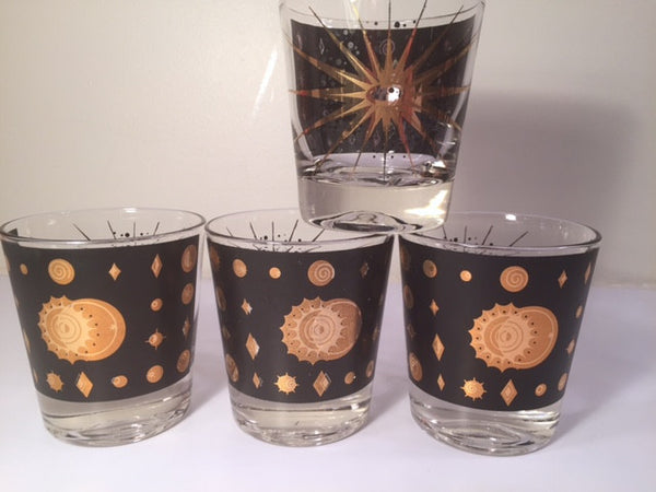 Fred Press - Signed Mid-Century Celestial/Atomic Burst 22-Karat Gold & Black Whiskey Glasses (Set of 4)