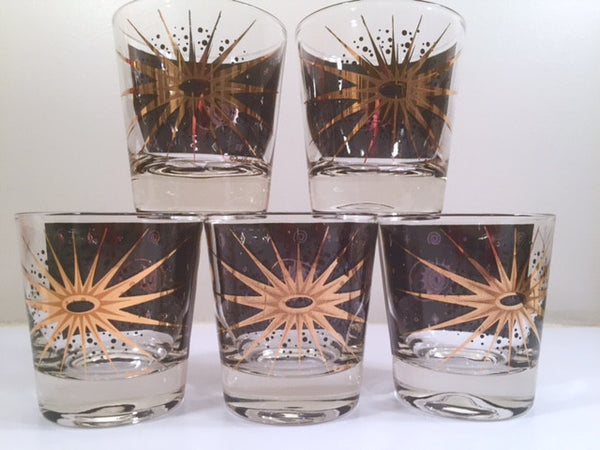 Fred Press - Signed Mid-Century Celestial/Atomic Burst 22-Karat Gold & Black Whiskey Glasses (Set of 5)