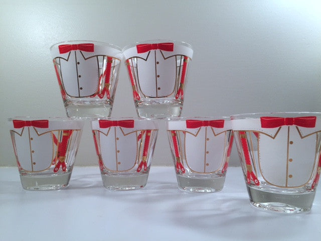 Let's Tie One On Mid-Century Vintage Glasses (Set of 6)