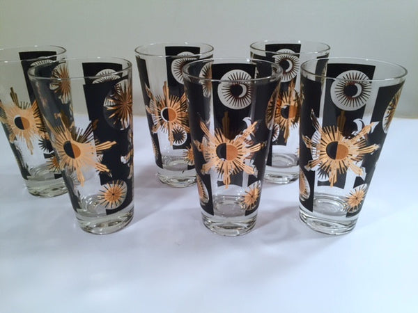 Fred Press - Signed Mid-Century Celestial/Atomic Burst 22-Karat Gold & Black Glasses (Set of 6)