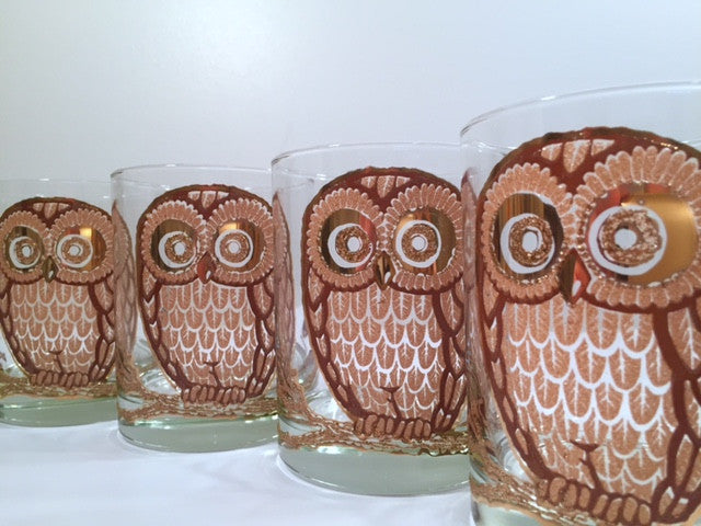 Georges Briard Signed Vintage Retro Owl Glasses (Set of 4)