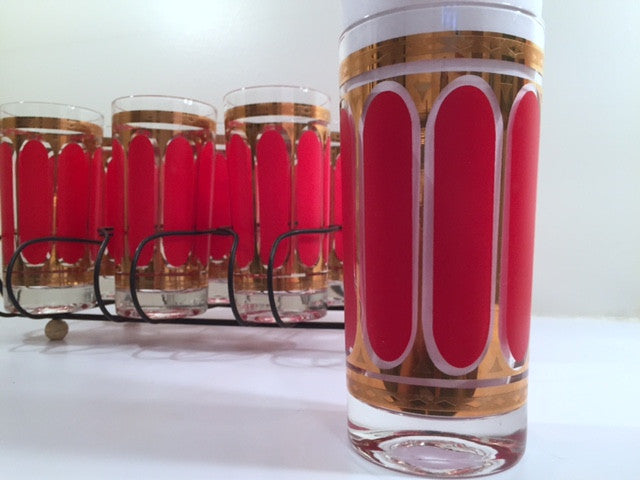 Fred Press Signed Mid-Century Red Stripes & 22-Karat Gold Crown Highball Glasses with Carrier (8 Glasses and Carrier)
