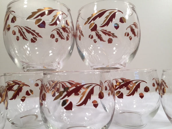 Federal Glass Mid-Century 22-Karat Gold Acorn Roly-Poly Set (Set of 8 Glasses)