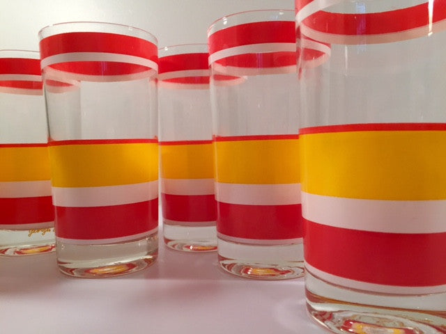 Georges Briard Signed Mid-Century Cabana Highball Glasses (Set of 6)