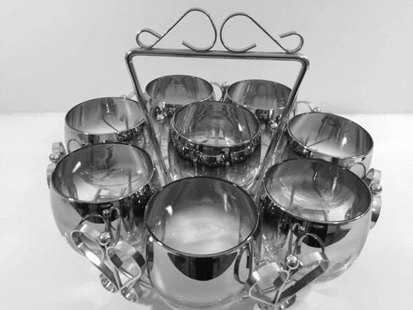 Vitreon Queen's Luster Mid-Century Roly Poly Set and Carrier (8 Glasses and Round Carrier)