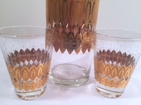 Pasinski Signed Mid-Century 22-Karat Gold Cocktail Set (1 Pitcher and 2 Glasses)