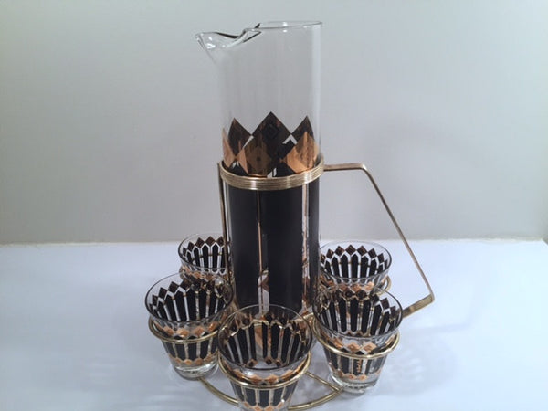 Fred Press Signed Mid-Century Black and 22-Karat Gold Diamonds Retro 8-Piece Cocktail Set (1 Pitcher, 1 Carrier, 6 Glasses)
