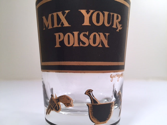 Georges Briard Signed Mid-Century Black & 22-Karat Gold Mix Your Poison Single Glass