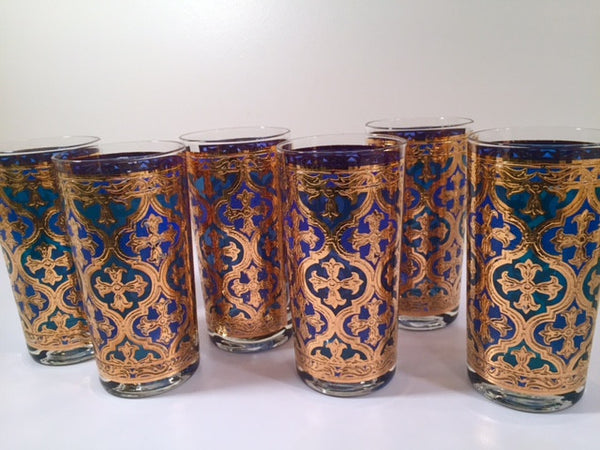 Georges Briard Signed Mid-Century Firenza Blue and 22-Karat Gold Italian Renaissance Cross Highball Glasses (Set of 6)