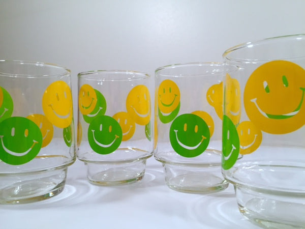 Retro Green and Yellow Smiley Face Glasses (Set of 4)
