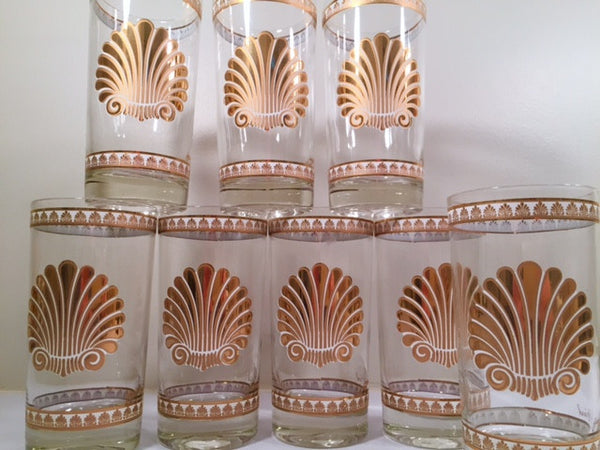 Georges Briard Signed Mid-Century 22-karat Gold Sea Shell Highball Glasses (Set of 8)
