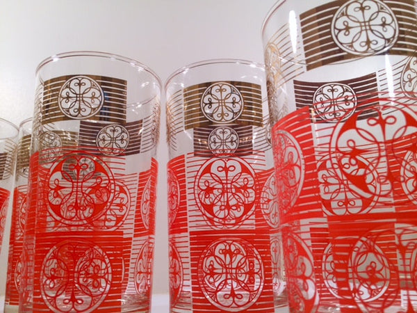 Libbey Mid-Century Orange and 22-Karat Gold Retro Glasses (Set of 8)