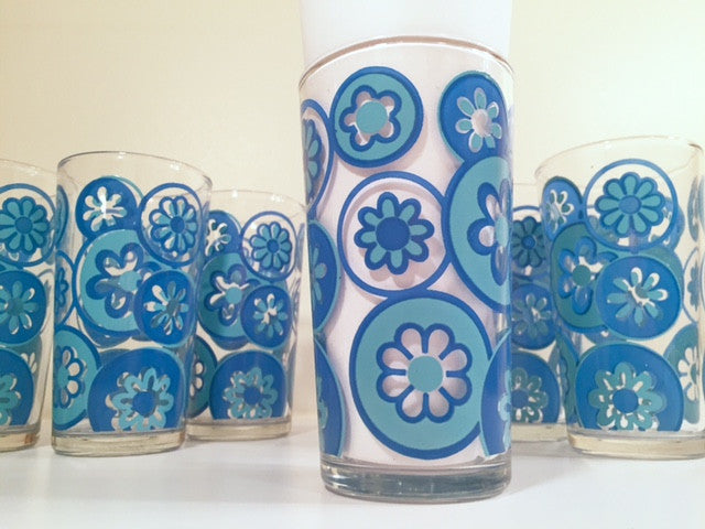 Hazel Atlas Mid-Century Hazelware Blue Flower Power Glasses (Set of 8)