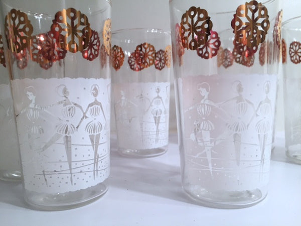 "Anchor Hocking Mid-Century ""Happy Time"" Ballerina 8-Piece Set (Set of 8 Glasses with Original Box)"