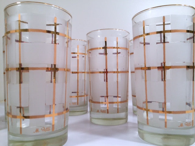 Libbey Mid-Century Golden Plaid M. Petti Signed Glasses (Set of 8 with Original Box)