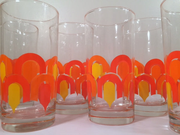 "Libbey ""Informals"" Orange and Yellow Retro Loop Glasses (Set of 8)"