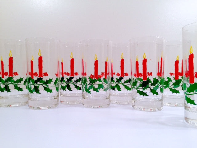 Dayton Hudson Vintage Christmas Candle Glasses with Original Box (Set of 8)