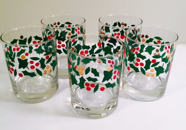 Libbey Vintage Holly & Berry with Gold Rock Glasses (Set of 5)