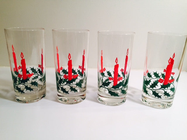 "Dayton's 5 1/2"" Height Christmas Candle and Holly Glasses (Set of 4)"
