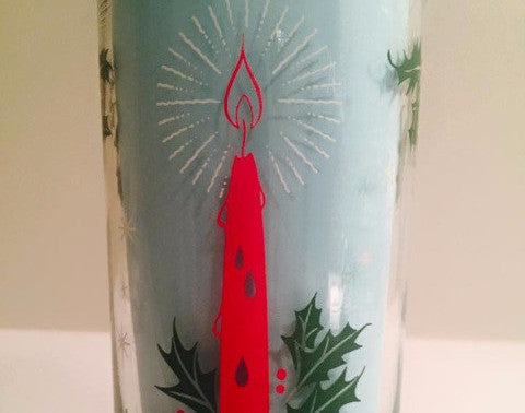 Single Vintage Christmas Candle Glass