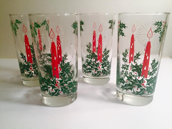 Vintage Christmas Candle Glasses (Set of 4)