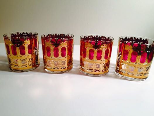 Culver Signed LTD Vintage Cranberry Scroll Rocks Glasses (Set of 4)
