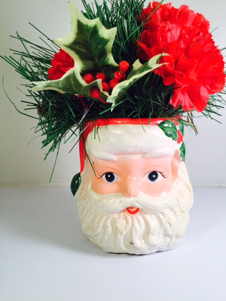 Vintage Santa Face Display Ceramic Figure with Flowers