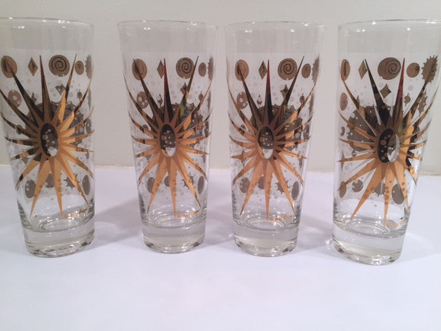 Fred Press - Signed Mid-Century Frosted White & 22-Karat Gold Atomic Starburst Collins Glasses (Set of 4)