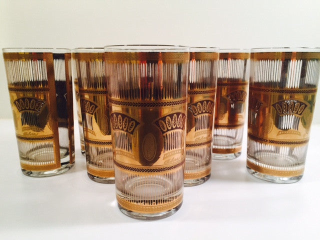 Culver - Signed 22-Karat Gold Deco Wheat Tall Glasses (Set of 8)