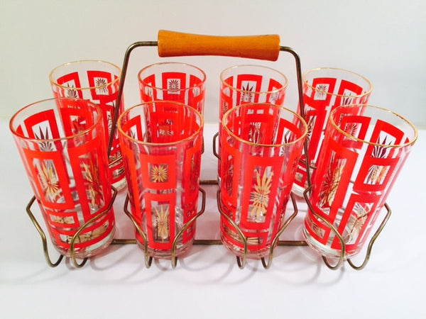 Vintage Mid-Century Geometric Red and 22-Karat Gold Highball Glasses with Retro Carrier (Set of 8 plus Carrier)