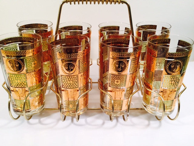 Georges Briard - Signed 22 Karat Gold, Golden Celeste Highball Set with Carrier (Set of 8 Highball Glasses & Carrier)