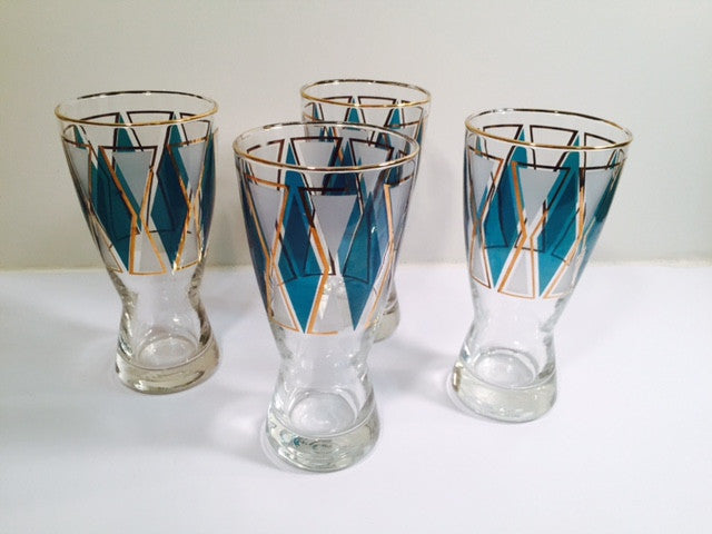 Libbey Emerald - Blue and Gold Diamond Pilsner Glasses (Set of 4)