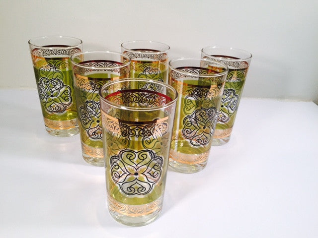 Vintage Retro Green and Gold Flower Glasses (Set of 6)