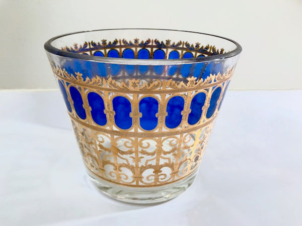 Culver Signed Mid-Century Azure Scroll Ice Bucket