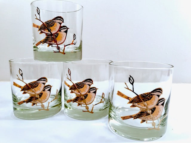 Couroc Signed Mid-Century Chickadee Lowball Glasses (Set of 4)