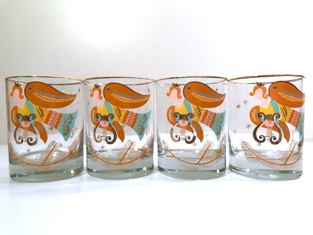 Georges Briard Signed Angels We have Heard on High Double Old Fashion Glasses (Set of 4)