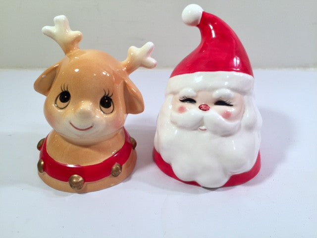 Enesco Vintage Santa and Reindeer Bells