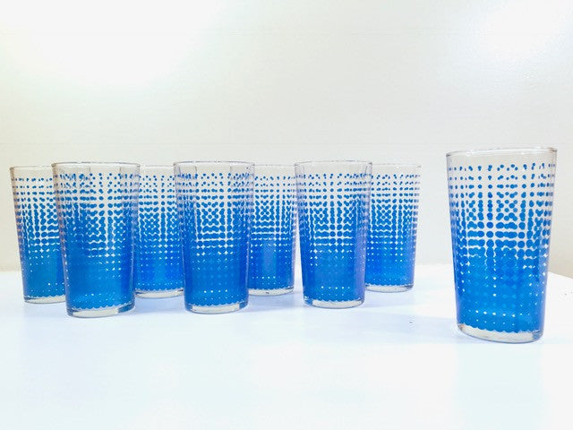Hazel Atlas Mid-Century Retro Blue Dots Glass Set With Original Box (Set of 8)