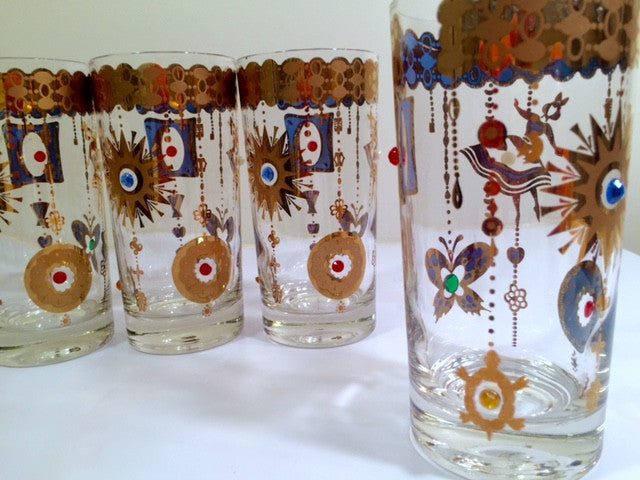 Culver Mid-Century 22-Karat Gold Charm Bracelet Highball Glasses (Set of 5)