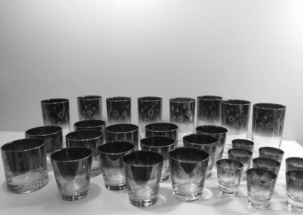 Vitreon Queens Luster Mid-Century Atomic Platinum 29-Piece Bar Set