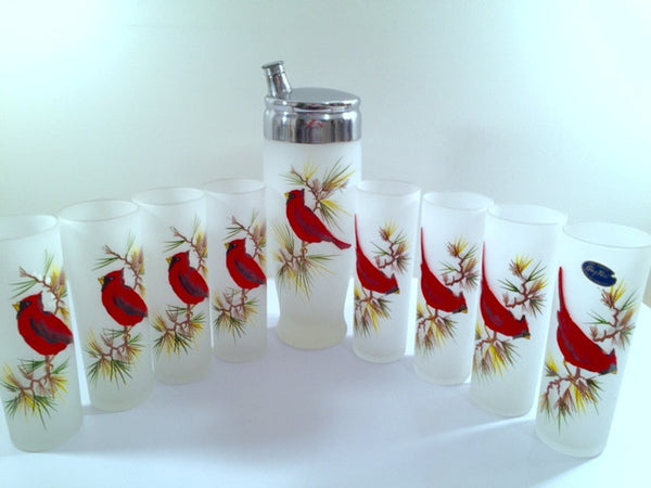 Gay Fad Mid-Century Red Cardinal Christmas 9-Piece Bar Set (8 Collins Glasses, Shaker With Lid)