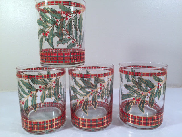 Culver Signed Mid-Century Christmas Holly and Berry Double Old Fashion Glasses (Set of 4)