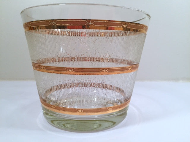 Culver Mid-Century Glass Ice Bucket with Frosted Ice and 22-Karat Gold Band Design